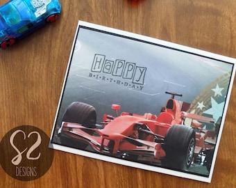 Handmade Race Car Birthday Card