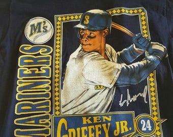 Ken Griffey Jr. Nutmeg HOF T Shirt 1992 Large Blue Seattle Mariners A3