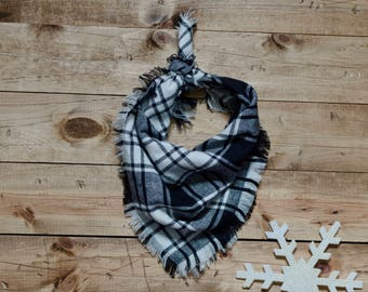 BLANCHE- Square bandana, black and white bandana, plaid bandana, frayed bandana, dog accessory, holiday, holiday bandana, dog bandana