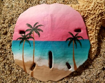 Hot pink sky sand dollar ornament