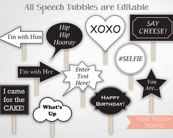 Photo Booth Props,  Speech Bubble Props, Editable Props, Instant Download PDF