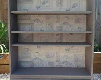bookcase/shelving cabinet 2 drawers, adjustable shelving, shabby chic style, grey tones