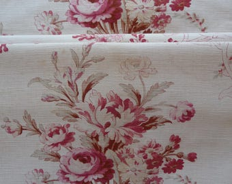 RESERVED SOLD RESERVED Antique French fabric fabulous florals/ bouquets of roses / fabric circa 1910s/shabby chic antique French linen