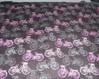 Fabric - Gray Pink Bikes - Beach Cruiser Bicycles  - Sewing Crafts Scrapbook -Priority Shipping Worldwide - More Material n Shop