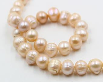 13 mm pink round freshwater pearls, pink round pearl, full strand, round pearl strands, pearl wholesale