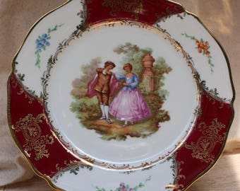 "Pink/Gold J C Limoges France Plate dancing Couple""Rehaussee Main"""