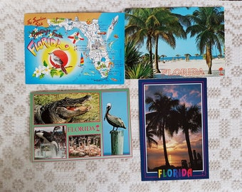 Set of four vintage  postcards, vintage art postcards, collectible postcard,  vintage souvenir World cities, old postcards of USA Florida