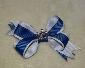 Blue and white princess bow
