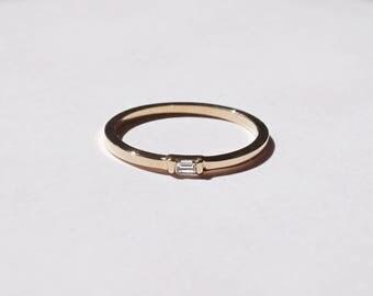 Baguette diamond Ring, Horizontal Baguette Diamond,14k gold, stackable rings, everyday, simple rings, dainty rings, minimal