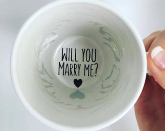 Marry Me Coffee Mug  Proposal Pop the Question Hidden Secret Message Engaged Surprise Custom Engagement Mug Will You Marry Me Personalized