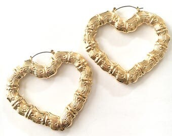 Large Gold Heart Earrings
