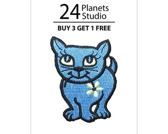 Blue Cat Iron on Patch by 24PlanetsStudio