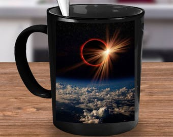 ECLIPSE Coffee Cup! Actual Photo Coffee Mug for Cool Science Weather Geek in Your Life! Total Solar Eclipse 8.21.17 Commemorative Mug Gift