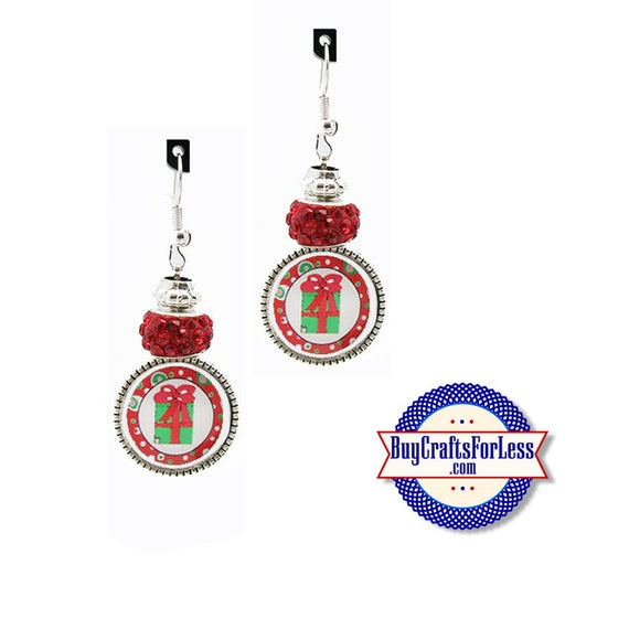CHRISTMAS GiFT EARRiNGS, Glass Cabochon, Sparkle Beads, FREE Gift BoX!!  +FREE SHiPPiNG & Discounts*