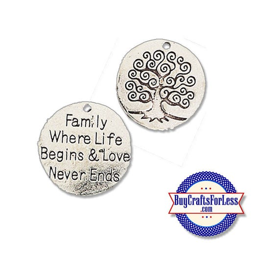 """FAMILY Charms, """"Family Where Life Begins"""", 2, 6, 12 pcs +FREE SHiPPing & Discounts*"""