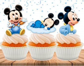 Baby Mickey Mouse Cupcake Toppers, Printable, Mickey Party, Baby Shower, Instant Download, 3 inches