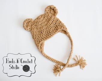Newborn bear hat, newborn crochet bear hat, newborn girl hat, newborn boy hat, newborn earflap hat, newborn photo prop, bear ear flap hat