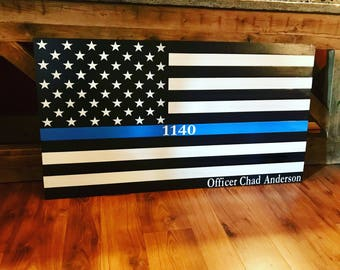 Thin Blue Line, Wooden American Flag, American Flag Wall Art, Weathered American Flag, Old Glory, Wall Flag