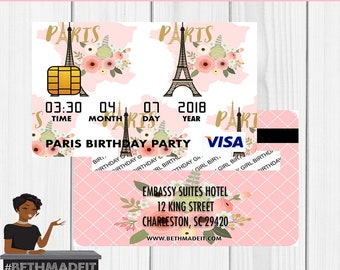 Paris Credit Card Invitation, Paris Birthday Party, Paris Baby Shower, Paris Decor, Paris Favor,  Sweet 16, Digital or Printed and Shipped