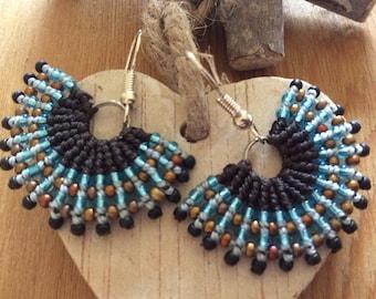 Fun festival fiesta fan shaped micro macrame earrings. - boho - macrame - yoga jewellry
