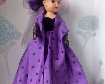 18 inch Miss Revlon doll dress. Purple evening dress with gloves, wrap, and hat.