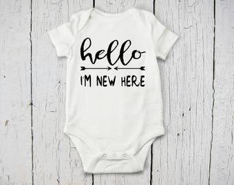 Hello I'm New Here Baby Onesie | Going Home Baby Onesie | Baby Shower Gift | Custom Baby Bodysuit | Long Sleeve, Short Sleeve Baby Onesie