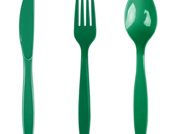 24PCS Emerald Green Heavy Duty Plastic Cutlery Assorted Pack, Wedding Decorations, Decor, Party Decorations, Party, Wedding, cutlery
