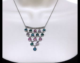 Multi Colors of Swarovski Beads Pendant Necklace. Swarovski Turqouise, Purple and Pink Pendant Necklace. Fine Silver Chain with Multi Stones