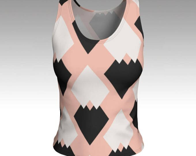 Tank Tops, Tanks, White and Black Diamonds Tank Top, Pink Tank Top, Women's Tops, Tops, Athletic Top, Yoga Top, Exercise Top, Gift for her