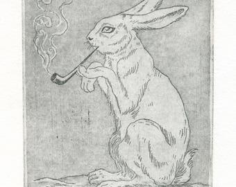 """Engraving """"Rabbit Smoking Pipe"""""""