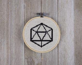 D20, Cross Stitch Pattern, Dungeons and Dragons Cross Stitch, RPG Cross Stitch, Modern Cross Stitch, Fantasy Cross Stitch