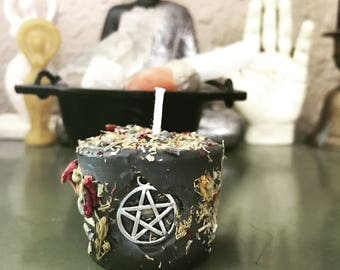 Pentacle Protection Ritual Candle 100% Beeswax votive herbal energy candle
