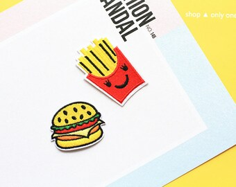 FAST FOOD Set --2pcs-- Handmade Embroidered Patch Brooches Pins/Fabric Badge/Iron-On Patches/Burger/French Fries/Bread/Meal
