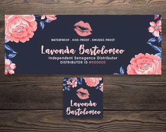 LipSense Facebook Cover, LipSense Social Media, SeneGence International, Distributor, Personalized, Digital File, Dark Floral, LIPFBC001