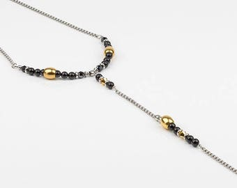 Long necklace, black and gold, swarovski, stainless steel