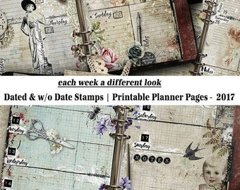 On Sale 2017 Planner, Printable Planner Pages, 2017 Weekly Planner, Vintage Style, Planner Inserts, A5, Half Letter, Printable Planner, Cale