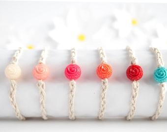 Rose Beaded Bracelet   Hemp Cord Bracelet   Braided Bracelet   Stackable Bracelet   Handmade  Adjustable