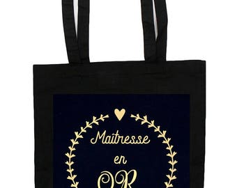Tote Bag teacher in gold - teacher gift - bag in cotton
