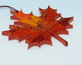 Quilled Fall Maple Leaf.  Sun-catcher, Ornament, Rear View Mirror or Package Hanger. Includes Free Gift Package.