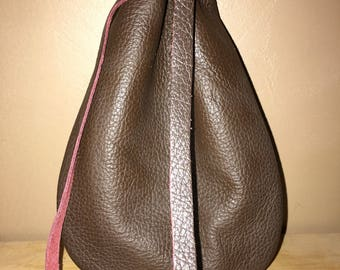 Brown Leather Drawstring, Dice Bag, Coin Pouch