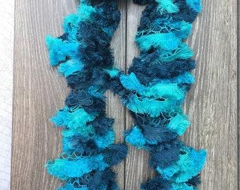 Knitted Ruffle Fringe Scarf