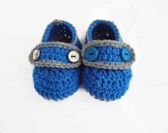 Crochet loafers Baby loafers Button loafers Crochet baby boots Baby boy gift Blue-grey loafers Handmade boots Crochet baby loafers 3-6m shoe