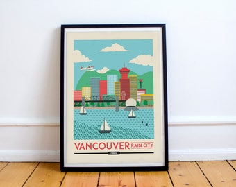 Vancouver Print - Vancouver city poster - Vancouver Skyline Print - Cityscape Print - Canada Cityscape, Art Print, Wall Art   Travel Poster