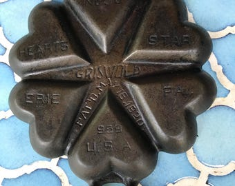 Very Rare Griswold No 50 Cast Iron Heart-Star Gem Pan p/n 959 Collector's Piece