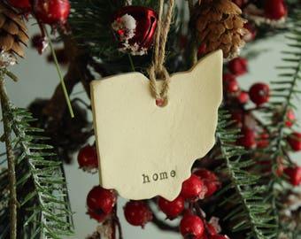 Ohio ornament, State of Ohio ornament, Ohio Home, Ohio family, Ohio ornament, Ohio Christmas,Ohio pottery ornament, Buckeye ornament