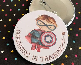Baby Boy Party Pinback / Button Badges / Baby Superhero Theme / Baby Pin /Party Pin buttons / Superhero in Training Pin Button