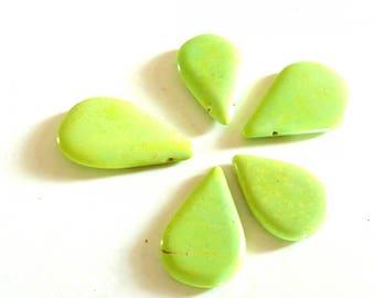 5 drop beads flat green howlite