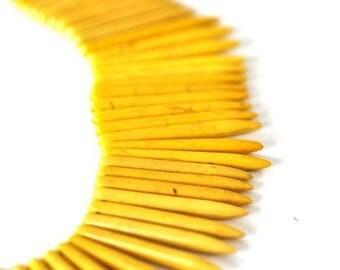 10 tips/spikes BULLET yellow Howlite gemstone