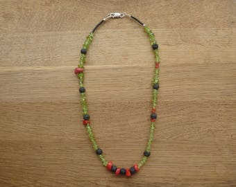 Peridot, Lava and Red Coral Necklace
