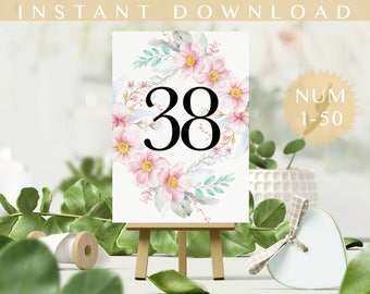 Wedding Table number Table number 1 to 50. PDF.  Party Table Number Table Decor.